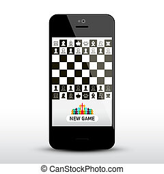 Chess Game App on Mobile Phone. Chessboard on Application Smartphone. Vector Symbol.