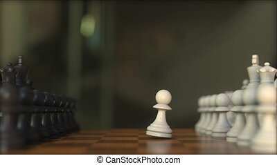 Chess game. Chessboard close-up, realistic 3D animation -...