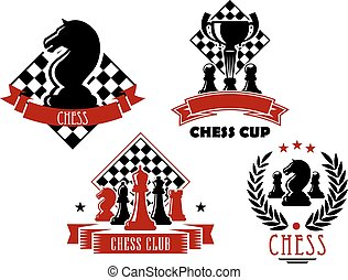 Chess game club and cup icons - Chess club and tournament...