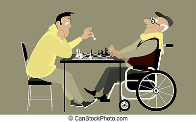 Chess game - Elderly man in a wheelchair playing chess with...