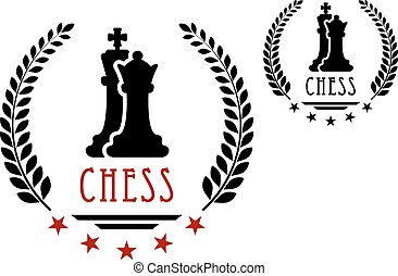 Chess game emblem with king and queen - Chess game emblem or...