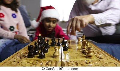Chess game for clever minds on winter holidays. Diverse...