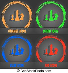 chess Game icon. Fashionable modern style. In the orange, green, blue, red design. Vector