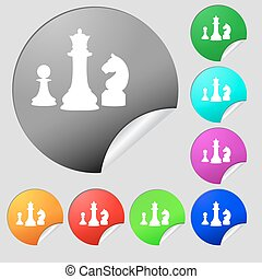 chess Game icon sign. Set of eight multi colored round buttons, stickers. Vector