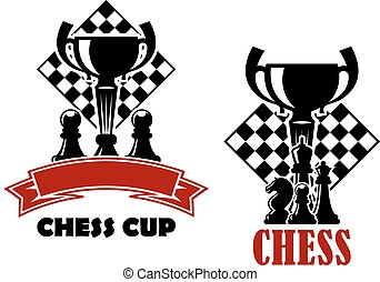 Chess game icons with cup and chessmen - Chess cup...