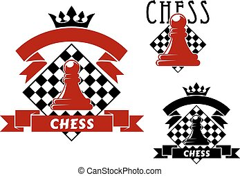 Chess game icons with pawn and chessboard - Chess sporting...