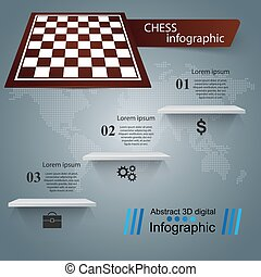 Chess, game illustration. Business infographic.