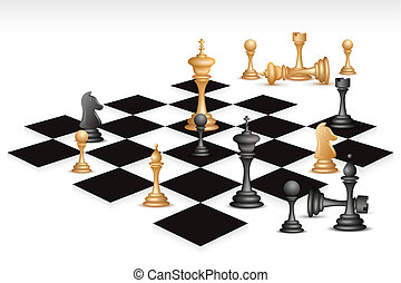 Chess Game - illustration of chess piece on chess board