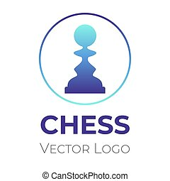 Chess game logo vector design template. Chess tournament, club, championship minimalistic symbol.