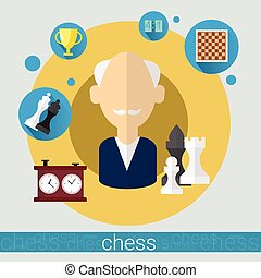 Chess Game Player Senior Man Icon