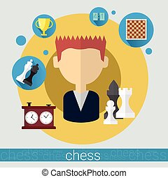 Chess Game Player Young Man Icon