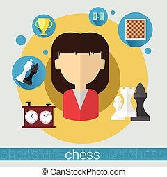 Chess Game Player Young Woman Icon