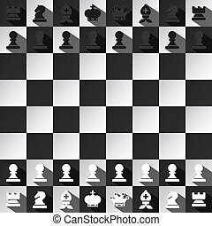 Chess Game Vector Design. Top View Black and White Chessboard with All Pieces.