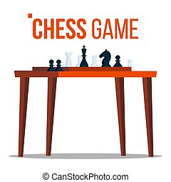 Chess Game Vector. Figures On The Table. Pieces. Logical Sport Game Tournament. Isolated Flat Cartoon Illustration