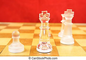 Chess Game with a Red Background - Chess Game - Glass Chess...