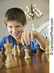 chess., garçon, jouer