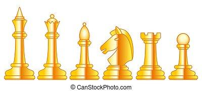 Chess gold set illustration