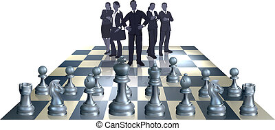 chess, hold, begreb, firma