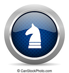 chess horse blue circle glossy web icon on white background, round button for internet and mobile app