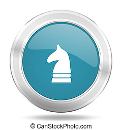 chess horse icon, blue round glossy metallic button, web and mobile app design illustration