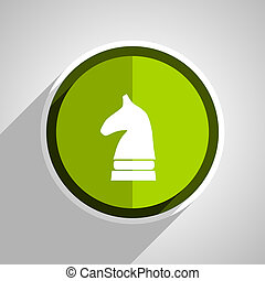 chess horse icon, green circle flat design internet button, web and mobile app illustration