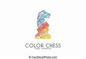 Chess horse ogo. Chess logo. Horse logo. Creative logo.