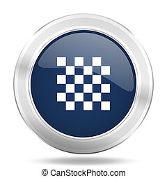 chess icon, dark blue round metallic internet button, web and mobile app illustration