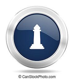 chess icon, dark blue round metallic internet button, web and mobile app illustration