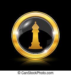 Chess icon - Golden shiny icon on black background -...