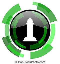 chess icon, green modern design isolated button, web and mobile app design illustration