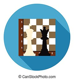 Chess icon in flat style isolated on white background. Board games symbol stock vector illustration.