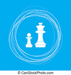 Chess Icon on a blue background with abstract circles around and place for your text.