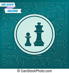 Chess Icon on a green background, with arrows in different directions. It appears on the electronic board. Vector