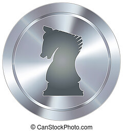 Chess icon on industrial button