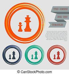 Chess Icon on the red, blue, green, orange buttons for your website and design with space text. Vector