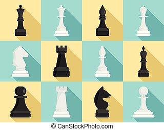 Chess icon set, flat style