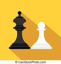 Chess king and chess pawn icon, flat style