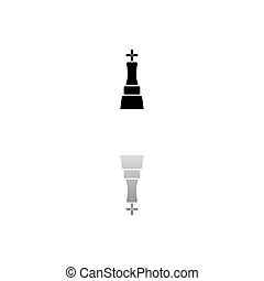Chess king icon flat