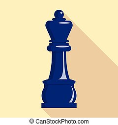 Chess king icon, flat style