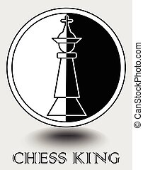 Chess king icon in monochrome design, vertical splitted to black and white part, object shadow. Designed for chess club, chess match emblem, internet portal, web