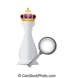 Chess king piece and magnify glass