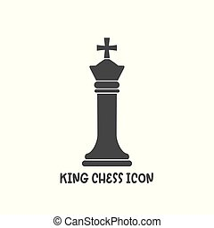 Chess king piece icon simple flat style vector illustration.