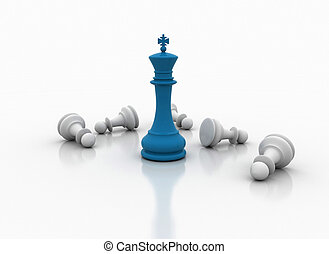 Chess king standing - game over  - Winning concept