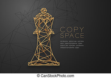 Chess King wireframe Polygon golden frame structure, Business strategy concept design illustration isolated on black gradient background with copy space, vector eps 10