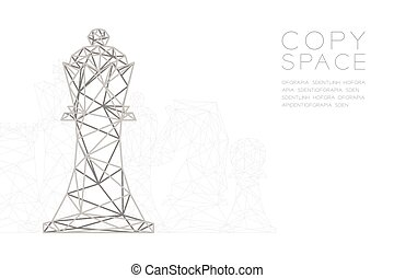Chess King wireframe Polygon silver frame structure, Business strategy concept design illustration isolated on black gradient background with copy space, vector eps 10