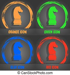 Chess knight icon. Fashionable modern style. In the orange, green, blue, red design. Vector