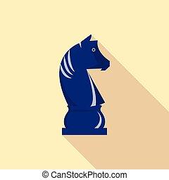 Chess knight icon, flat style