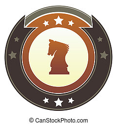 Chess knight imperial button