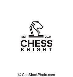 Chess knight logo with monoline design
