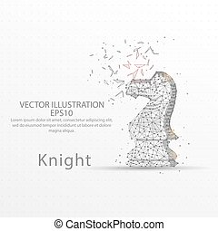 Chess knight low poly wire frame on white background.